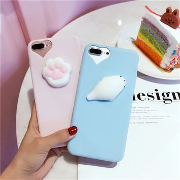 3D Cute Cat Seal Lion Dog Squishy Phone Case for iPhone 7 Cases 6 7 Plus 5 5S Soft TPU Candy Cover For iPhone 6 Case 6S Plus