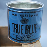 Collectible Reid True Blue Long Cut Tobacco Tin -- Home Decoration, Kitchen Decoration -- Vintage, Antique
