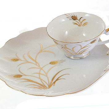 Hand Painted Lefton China Wheat Snack Plate Cup
