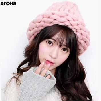ZFQHJJ Women Knit Hat Winter Warm Cotton Acrylic Chunky Thick Yarn Handmade Knitted Beanies and Skullies Solid Female Hats