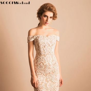 Cocktail Dress 2018 SOCCI Weekend Elegant Lace Little White Party Dresses Women Sexy Off the Shoulder with Beige Lining Robe de