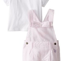 U.S. Polo Assn. Baby Girls' Seersucker Shortall with Jersey Top, Pinkness, 12 Months