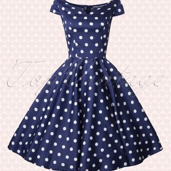 50s Antoinette Polkadot Swing Dress in Navy