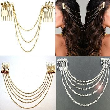 Fashion 2017 Women Hair Accessories Tassel Chain Headband Clip Hair Comb Bridal Leaf Headwear Metal