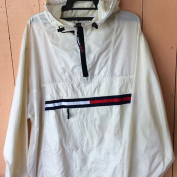 Vtg TOMMY HILFIGER windbreaker hoodies half zipper flag logo L size