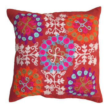 """16"""" Red Suzani Decorative Cotton Stunning Cushion Pillow Throw  Cover Embroidery Ethnic Indian Art"""