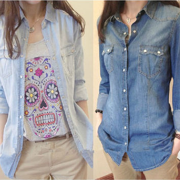 Hot sale European style women denim blouse slim shirt lady's elegant quality blouse 2014 spring fashion denim blouse B-2028