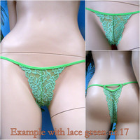 String Thong in lace bordered, Gloria sexy lingerie made to order