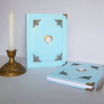 Wedding Album Guest Book Set, Personalized Wedding Gift, Teal Journal A5, Anniversary, Birthday, Graduation, Family, Handmade, Leather art