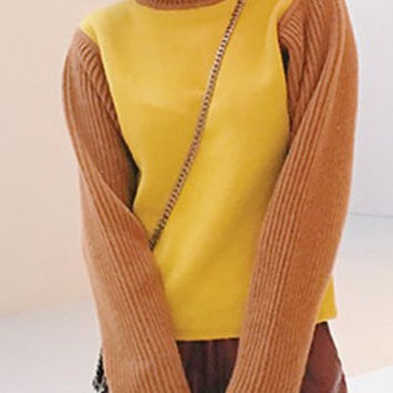 Brown and Yellow Turtleneck Long Sleeve Pullover Sweater