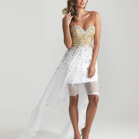 White Beaded Chiffon Strapless High-Low Prom Dress - Unique Vintage - Prom dresses, retro dresses, retro swimsuits.