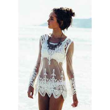 White Sheer Mesh w/ Swirl Lace Overlay Detail Short  Dress Cover Up Resort Wear Beach Sun