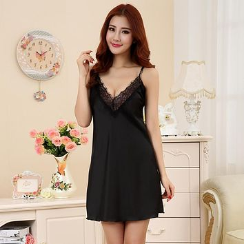 Women Silk Satin Nightgown Lace Nightdress Sexy Nighty Dress Sleeveless Sleepdress V-neck Sleepwear Nightwear For Summer.