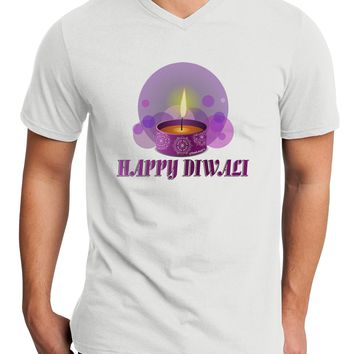 Happy Diwali Purple Candle Adult V-Neck T-shirt by TooLoud