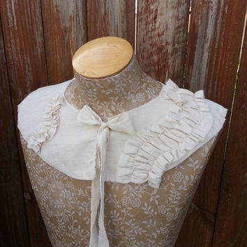 Detachable Fabric Collar in Antique White, Shabby Chic Capelet Rustic Shrug by From the Hope Chest