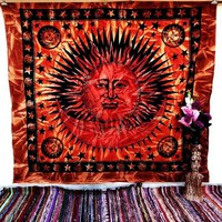 Orange Large Sun and moon indian handmade tapestry wall hanging