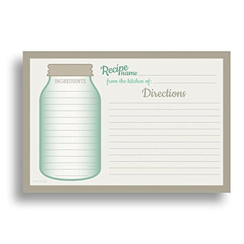 Mason Jar Recipe Card Set from Dashleigh, 48 Cards, 4x6 inches, Water-Resistant and High Quality