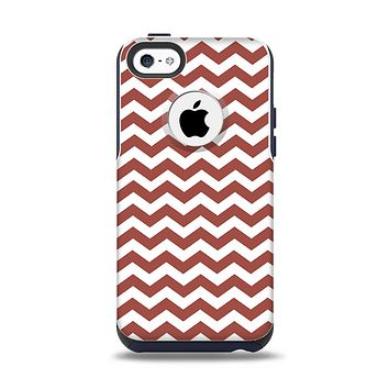 The Maroon & White Chevron Pattern Apple iPhone 5c Otterbox Commuter Case Skin Set