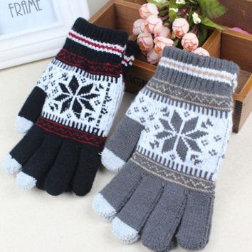 Warm Winter Gloves Knitted Touch Gloves Men Women Gloves Touch Screen Glove Party Supplies Women