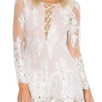 Lace Up Sheer Floral Romper
