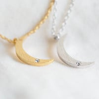 Mini Crescent Moon Necklace with CZ Inset - CLEARANCE
