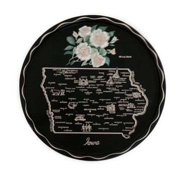 Vintage Souvenir Tray, Iowa State and Cities, Tin Metal, Serving Tray, State Flower, Black, Map