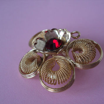 Gold Butterfly Brooch with Ruby Red Crystal Flower Center in Vintage Goldtone Spiral Wrapped Butter Fly Design Unique Pin Gift for Her