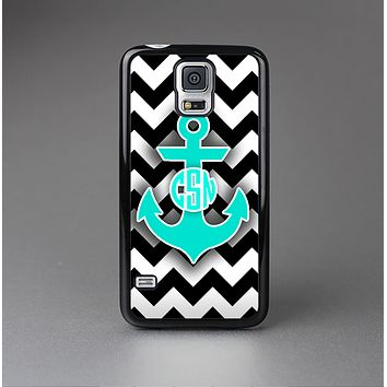 The Teal Green Monogram Anchor on Black & White Chevron Skin-Sert Case for the Samsung Galaxy S5
