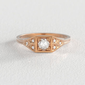 Rose Gold Vintage Art Deco Inspired Engagement Ring | 4mm Round Brilliant Cut Moissanite | Geometric Gold Band | Six 1mm Canadian Diamonds