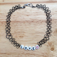 Customize Name Tattoo Choker with clasp (double strand - black or clear)