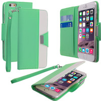 Teal Wallet Pouch Metal Flap Case Cover for Apple iPhone 6 (4.7)