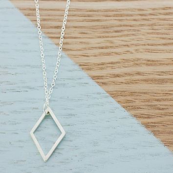 Long Geometric Diamond Necklace - Sterling Silver Handmade Craft Jewellery - Perfect Womans Gift, Chic Craft Jewelry, Box Pendant, Faceted
