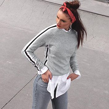 Women Casual Stitching Multicolor Stripe Webbing Bodycon Long Sleeve T-shirt Pullover Sweater Tops