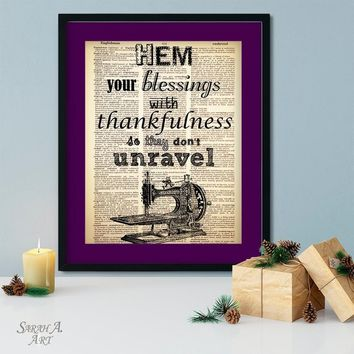 Hem Your Blessings with Thankfulness, Sewing Art, Dictionary Art, Vintage, Antique, Upcycled, Book Page, Dictionary Paper, Sewing Gift