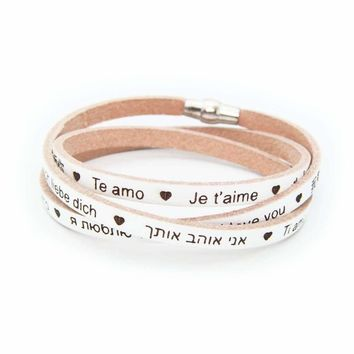 MY MALL METRO I Love You Genuine Italian Leather Wrap Bracelet Engraved 23 Languages, 925 Silver - Beige