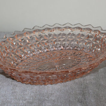 Pink Depression Glass Jeanette Holiday Buttons and Bows Oval Serving Bowl - Pink glass bowl, vintage servingware,, vegetabe bowl