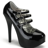 Bordello Triple Strap Black Stiletto Platforms