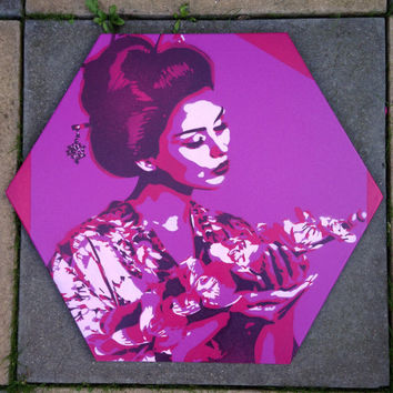 Geisha with lilies,painting,hexagon canvas,stencil art,spray paint art,woman,asian,oriental,flowers,kimono,beauty,purple,street art,Japanese