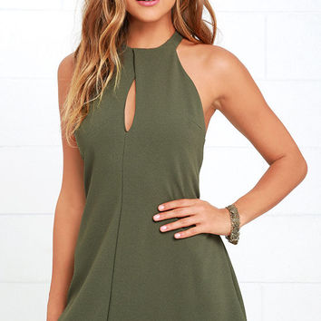 Could It Be Magic Olive Green Dress