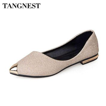 Tangnest Metal Toe Women's Flats Bling Shallow Ballet Flats For Pointed Toe Shoes Gold Black