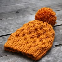Knit hat pattern honeycomb hat winter PDF