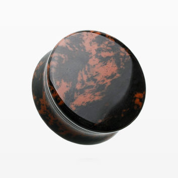 A Pair of Mahogany Obsidian Stone Double Flared Ear Gauge Plug