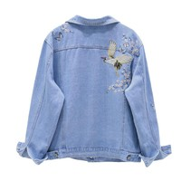 Birds Floral Embroidery denim jacket coat 2017 Autumn women loose denim coat outwear