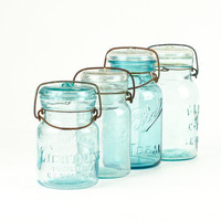 Antique Aqua Blue Canning Jar Collection with Glass Lids