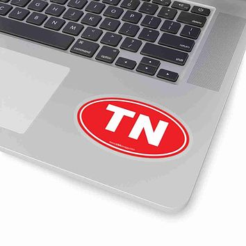 Tennessee TN Euro Oval Sticker SOLID RED