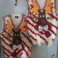 Homemade Custom 3-D Hysterical Reindeer Tacky Ugly Christmas Sweater  VEST  Wild Garland Light UP Mens Womens Vest