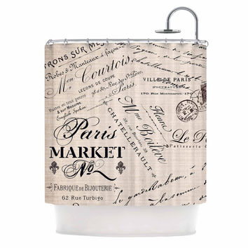 "Sylvia Cook ""French Script"" Handwriting Shower Curtain"