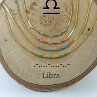 LIBRA Morse Code necklace, CUSTOM morse code, Secret Message, Dainty necklace, Personalized, Morse code jewelry, Birth necklace, mother Gift