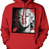Marilyn Monroe Sealed with a Kiss Hooded Sweatshirt, Classic Marilyn Monroe Sex Symbol Portrait Design Hoodie (Red, X-Large)