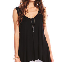 ASYMMETRICAL TANK TOP - BLACK